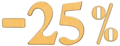 Percenten weg korting Minus 25 vijfentwintig percenten, is de cijfers Royalty-vrije Stock Afbeeldingen