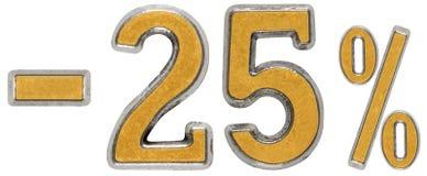 Percenten weg korting Minus 25, vijfentwintig, percenten Metaal nu Stock Fotografie