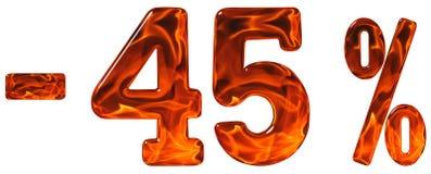Percenten weg korting Minus 45, vijfenveertig percenten, cijfers i royalty-vrije stock afbeeldingen
