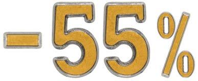 Percenten weg korting Minus 55, vijfenvijftig, percenten Metaal num Stock Afbeeldingen