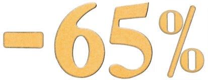 Percenten weg korting Minus 65 vijfenzestig percenten, cijfers ISO Royalty-vrije Stock Afbeeldingen