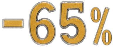 Percenten weg korting Minus 65, vijfenzestig, percenten Metaal num Stock Fotografie