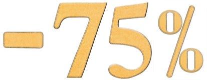 Percenten weg korting Minus 75 vijfenzeventig percenten, cijfers i Stock Afbeeldingen