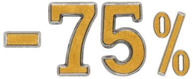 Percenten weg korting Minus 75, vijfenzeventig, percenten Metaal n Stock Afbeelding
