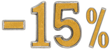 Percenten weg korting Minus 15, vijftien, percenten Metaalnumera Stock Foto's