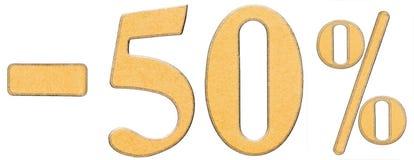 Percenten weg korting Minus 50 vijftig percenten, geïsoleerde cijfers Stock Foto's