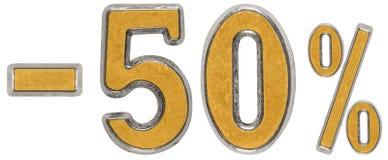 Percenten weg korting Minus 50, vijftig, percenten Metaalcijfer, Royalty-vrije Stock Afbeelding