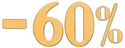 Percenten weg korting Minus 60 zestig percenten, geïsoleerde cijfers Stock Foto's