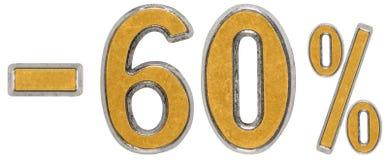 Percenten weg korting Minus 60, zestig, percenten Metaalcijfer, royalty-vrije stock foto