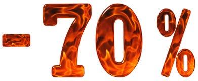 Percenten weg korting Minus 70, zeventig percenten, cijfersisol Stock Foto's