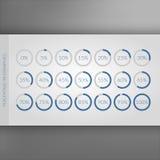 0 5 10 15 20 25 30 35 40 45 50 55 60 65 70 75 80 85 90 95 100 percentencirkeldiagrammen Vectorpercentageinfographics Cirkeldiagra Stock Afbeelding