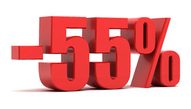 55 percentenkorting Royalty-vrije Stock Foto's