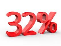 32 percentenkorting Rode 3d aantallen op geïsoleerde witte achtergrond Stock Afbeeldingen