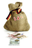 19 percententeken op zak, bankbiljetten, muntstukken Royalty-vrije Stock Fotografie