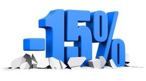15 percentenverkoop en het concept van de kortingsreclame Stock Foto's