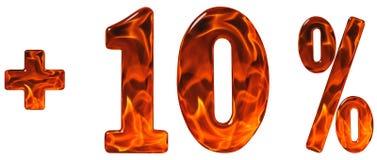 Percentenvoordelen, plus 10, tien die percenten, cijfers op whi worden geïsoleerd Stock Fotografie