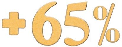 Percentenvoordelen, plus 65 vijfenzestig percenten, geïsoleerde cijfers Stock Foto