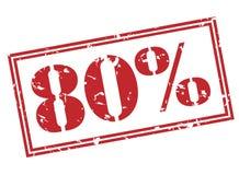 80 percentenzegel op witte achtergrond Stock Fotografie