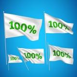 100 percents - άσπρες διανυσματικές σημαίες Στοκ Εικόνες