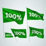 100 percents - πράσινες διανυσματικές σημαίες Στοκ φωτογραφία με δικαίωμα ελεύθερης χρήσης