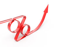 Percents. Red percents arrow directed to top - 3d render Stock Images