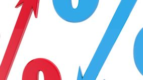 Percents with arrows in blue and red in different directions stock video