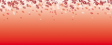 Red Background Percents Confetti. Percents confetti on the red background Royalty Free Stock Photo