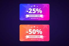 25 and 50 percents discount cards. Vector illustration. 25 and 50 percents discount cards. Loyal members only. Vector illustration in modern gradient style for vector illustration