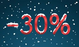 30 percents discount numbers with snow and icicles. Snowing reta. Il winter digits for your business web site or banners. Advertisement price for shopping in Royalty Free Stock Images