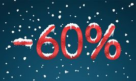 60 percents discount numbers with snow and icicles. Snowing reta. Il winter digits for your business web site or banners. Advertisement price for shopping in Royalty Free Stock Photography