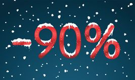 90 percents discount numbers with snow and icicles. Snowing reta. Il winter digits for your business web site or banners. Advertisement price for shopping in stock illustration