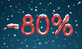 80 percents discount numbers with snow and icicles. Snowing reta Stock Image