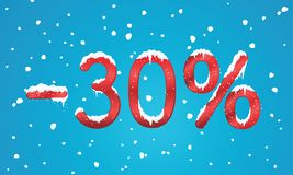 30 percents discount numbers with snow and icicles. Snowing reta. Il winter digits for your business web site or banners. Advertisement price for shopping in Royalty Free Stock Image