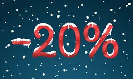 20 percents discount numbers with snow and icicles. Snowing reta. Il winter digits for your business web site or banners. Advertisement price for shopping in Stock Images
