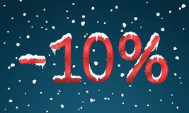 10 percents discount numbers with snow and icicles. Snowing reta. Il winter digits for your business web site or banners. Advertisement price for shopping in Stock Image