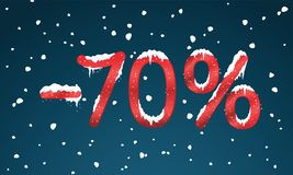 70 percents discount numbers with snow and icicles. Snowing reta. Il winter digits for your business web site or banners. Advertisement price for shopping in royalty free illustration