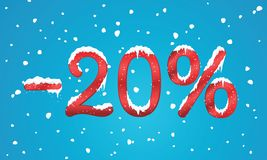 20 percents discount numbers with snow and icicles. Snowing reta. Il winter digits for your business web site or banners. Advertisement price for shopping in Stock Photos