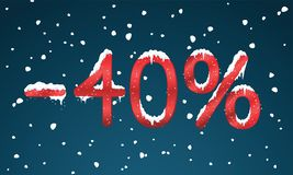 40 percents discount numbers with snow and icicles. Snowing reta Royalty Free Stock Images