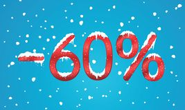 60 percents discount numbers with snow and icicles. Snowing reta. Il winter digits for your business web site or banners. Advertisement price for shopping in Royalty Free Stock Photos