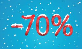 70 percents discount numbers with snow and icicles. Snowing reta. Il winter digits for your business web site or banners. Advertisement price for shopping in stock illustration