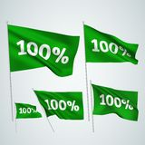 100 percents - green vector flags. A set of wavy 3D flags created using gradient meshes. EPS 8 vector Royalty Free Illustration