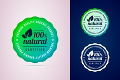 100 percents natural certified product round badge. The premium quality product. Vector badge in trendy gradient style in three color variants for eco, green vector illustration