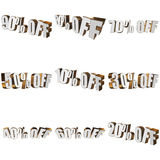 Percents off 3d letters on white background. Percents off letters on white background. 3d render isolated Stock Images