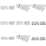 Percents off 3d letters on white background. Percents off letters on white background. 3d render isolated Stock Image