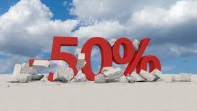 50 percents op gebroken ijs stock illustratie