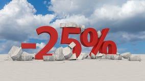 25 percents op gebroken ijs stock illustratie
