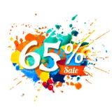 65 percents sale. Ssplash paint. Sixty five percents sale. Vector splash paint royalty free illustration