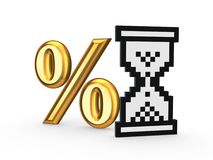 Percents symbol and icon of sandglass. Royalty Free Stock Image