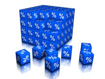 Percents symbols as cubes. 100 blue cubes with white percent symbols Stock Image