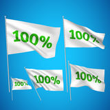 100 percents - white vector flags. A set of wavy 3D flags created using gradient meshes. EPS 8 vector Royalty Free Illustration